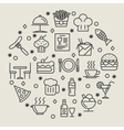Restaurant and foods outline icons set vector image vector image
