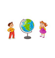school children with globe sphere map isolated on vector image