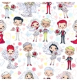 Seamless background with bride and groom vector image vector image