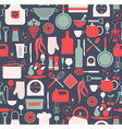 Seamless pattern of kitchen on blue vector image vector image