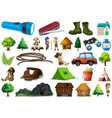 set camping element vector image
