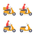 set delivery guy on moped vector image