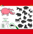 shadows game with pigs characters vector image vector image
