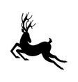 silhouette deer running reindeer moving leaping vector image vector image