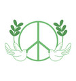 silhouette hippie emblem with doves and branches vector image vector image
