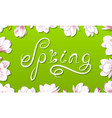 spring border frame with beautiful magnolia vector image