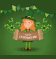 st patrick woman with accordion and clovers plants vector image
