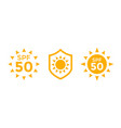 uv sun protection spf 50 icons on white vector image vector image