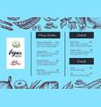 vegan cafe menu identity hand drawn design vector image vector image