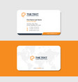 white and orange business card with world map vector image vector image
