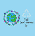 world environment day hand lettering card on vector image
