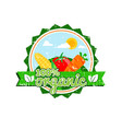 farm fresh organic food label farm food logotype vector image