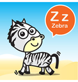 Z Zebra color artoon and alphabet for children to vector image