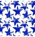 Blue and white worn grunge stars seamless pattern vector image