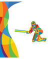 abstract cricket player multi color bright vector image