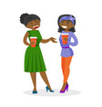 african-american business women drinking coffee vector image vector image