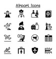 airport aviation icon set graphic design vector image