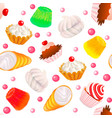 background seamless with fruit cakes marshmallow vector image vector image