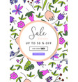 beautiful floral pattern label vector image vector image