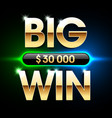 big win banner background for lottery or casino vector image vector image