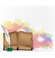 Book and feather on floral background vector image vector image