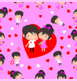 boy and girl love hearts seamless pattern vector image vector image