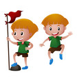 boy in green shirt holding red flag vector image