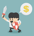 Businessman in attacking holding a sword and shiel vector image vector image