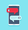 chat message on smartphone mobile phone chatting vector image vector image