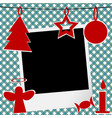 christmas template with photo frame vector image