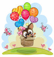 cute puppy in the box is flying on balloons vector image vector image
