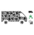delivery car mosaic of hemp leaves vector image vector image