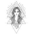 divine goddess black and white girl over sacred vector image vector image