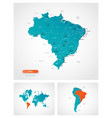 editable template map brazil with marks vector image vector image