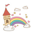 fairytale castle in the clouds with rainbow scene vector image vector image