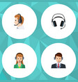 flat call set of secretary earphone hotline and vector image vector image