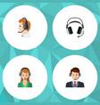 flat call set of secretary earphone hotline and vector image vector image