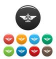 flight icons set color vector image