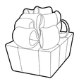 Gift icon outline style vector image vector image