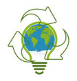 green eco recycle light bulb icon vector image vector image