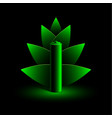 green neon battery and branch of leaves vector image vector image