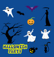 halloween icons over blue background vector image