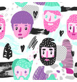 hipster seamless pattern with funny men faces vector image