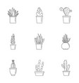 home cactus pot icon set outline style vector image vector image