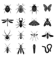 Insects set icons in black style Big collection vector image vector image