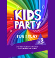 kids party letter sign poster cartoon letters and vector image vector image