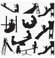 kids sliding silhouettes vector image vector image