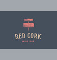 label of wine bar with corkscrew vector image vector image