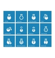 Laboratory glass icons on blue background vector image vector image