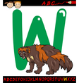 letter w for wolverine cartoon vector image vector image